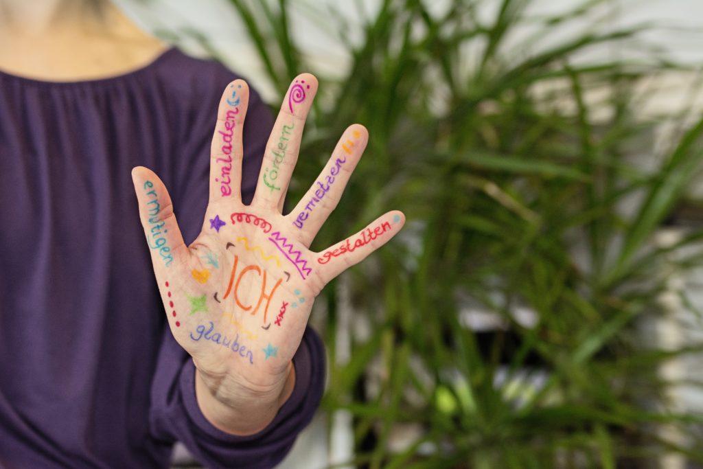 Hand mit den sechs Begriffen des Zukunftsbildes